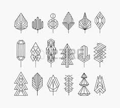 graphical tree set linear style royalty free cliparts