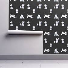 Block Print Wallpaper Westie Block Party Wallpaper Kiniart Spoonflower