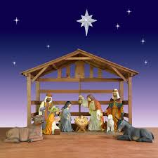 outdoor nativity sets painted christmasnightinc