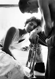 chet baker and his second wife halima 1955 shot by william