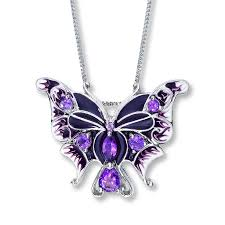 natural amethyst necklace images Kay butterfly necklace natural amethyst sterling silver jpg