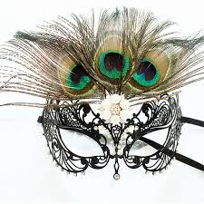 peacock masquerade mask half black filigree metal laser cut color rhinestone