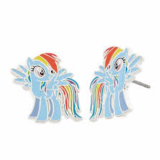 my pony earrings silver plated brass rainbow dash my pony stud earrings