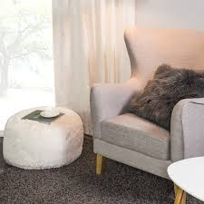 Home Decor Coquitlam Sophie Solid Long Hair Pouf White Home Decor Jysk Canada