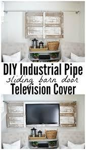 Decorative Flat Screen Tv Covers Industrial Pipe Sliding Barn Door Tv Cover Barn Doors