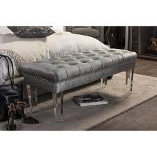 Grey Tufted Ottoman Oval Grey Tufted Ottoman Acrylic Legs Bench
