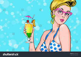 pop art illustration blond cocktail stock illustration