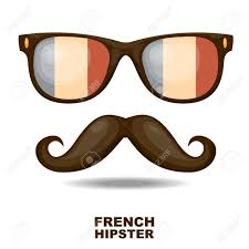 Flag Sunglasses Sunglasses And Mustaches French Flag Vector Illustration Royalty