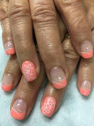 summer bright peach flower stamped french gel nails gel nail