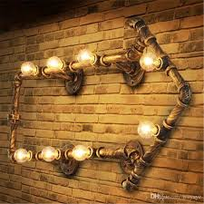 Industrial Wall Sconce Lighting 2017 Industrial Wall Pipe Lamps Vintage Retro Loft E14 Bulbs