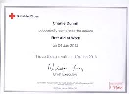 first aid at work certificate dr charles w dunnill