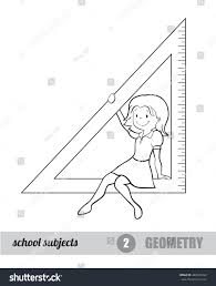 one subjects set geometry mathematics stock vector