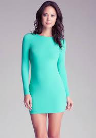 bebe long sleeve bodycon dress in green lyst