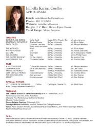 Dancer Resume Sample by Theatre Resume Template Cyberuse