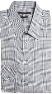 gucci black and white microcheck point collar dress shirt where