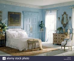 blue white bedroom french style furniture stock photo royalty