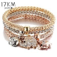 anchor bracelet charms images 17km new 3pcs gold color crystal owl charm bracelets for women elephan jpg