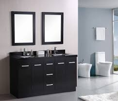 bathroom black wishbone chairs and modern bathroom mirror