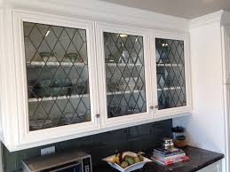 Glass Panels Kitchen Cabinet Doors We Added New Leaded Beveled Glass Panels To These New Cabinet