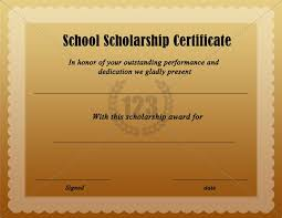 templates for scholarship awards free download school scholarship certificate 123certificate