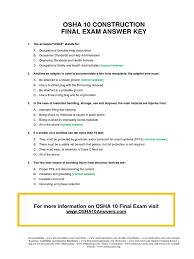 osha 10 construction final test answer key