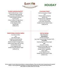 holiday menu u2014 savor catering