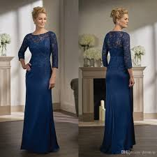 navy blue lace mother of the bride dresses with long sleeves jewel
