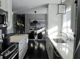 Galley Kitchen Styles Long Galley Kitchen Ideas Backrest Blue Leather Bar Stools Dark