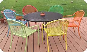 Retro Metal Garden Chairs painting metal patio furniture cushions 15 astounding painting