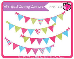 whimsical bunting banner clip art by pinkfoxdesign on deviantart