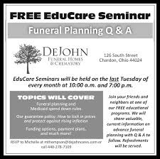 funeral pre planning pre arrangement considerations dejohn funeral homes crematory