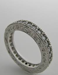 art deco mil grain diamond anniversary eternity wedding ring band