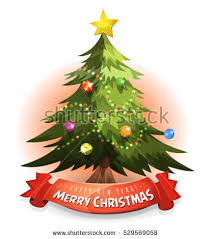tree wishes banner illustration merry stock
