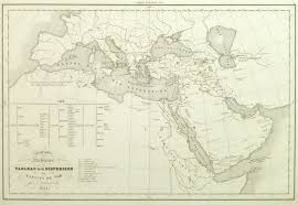 Geography Map Vintage Hebrew Geography Map 1844 Original Art Antique Maps