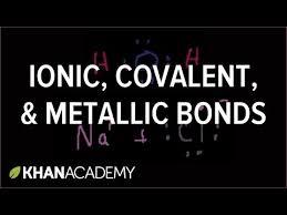 ionic covalent and metallic bonds video khan academy