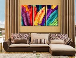 Canvas Without Frame 3 Panels Set Hd Fresh Look Color Feather Modern Wall Painting