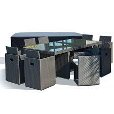 housse de protection jardin salon de jardin avec 8 fauteuils encastrables noirs et housse de