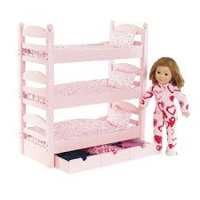 Inch Doll Furniture Stackable Pink Triple Bunk Bed With - Dolls bunk bed