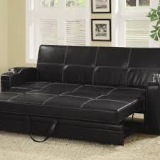 minimalist living room with black faux leather storage futon sofa