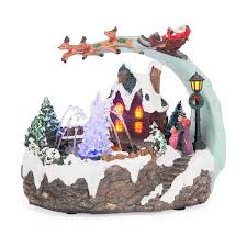 led christmas village scene musical ornament fountain santa sleigh