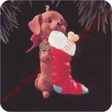 1996 hallmark puppy dachshund ornament at hooked on