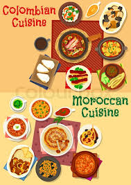 and moroccan cuisine icon set seafood and stew