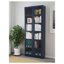 billy bookcase with glass doors dark blue ikea