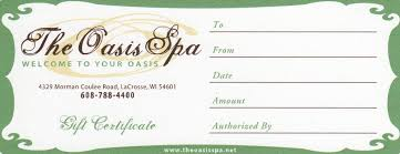 gift certificates the oasis spa gift certificates