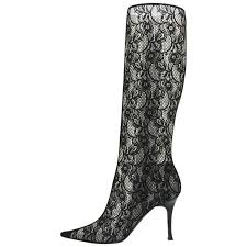boots size 9 sale casadei lace black twisted heel boots size 9 for sale at 1stdibs