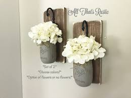 Wall Sconces For Flowers Wall Decor Mason Jar Sconce Mason Jar Decor Farmhouse