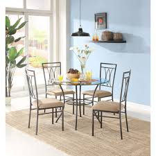 walmart dining room sets mainstays metal and glass 5 dining set walmart