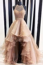 formal dresses chagne neck high low prom dresses evening dresses