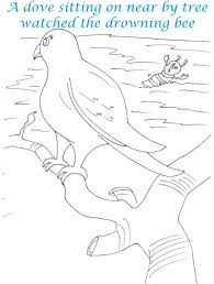 bee and dove story printable coloring pages for kids