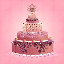 cute tasty birthday cake illustration free vector download